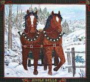 Horses Tapestries - Textiles - Jingle Bells by Kathy McNeil