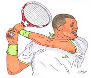 Us Open Drawings Framed Prints - Jo Wilfried Tsonga Framed Print by Steven White