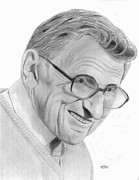 Coaching Framed Prints - Joe Paterno Framed Print by Pat Moore