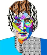 Super Star Mixed Media Prints - John Lennon Print by Bogdan Floridana Oana