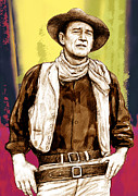 John Wayne Posters - John Wayne stylised pop art drawing potrait poser Poster by Kim Wang