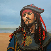 Black Art Paintings - Johnny Depp as Jack Sparrow by Paul  Meijering