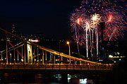 Pittsburgh Framed Prints - July 4th Fireworks in Pittsburgh Framed Print by Jetson Nguyen