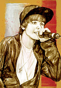 March Mixed Media Prints - Justin Bieber - stylised drawing art poster Print by Kim Wang