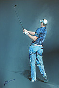 News Paintings - Justin Rose by Mark Robinson