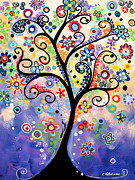 Fantasy Tree Art Paintings - Kaleidoscope Dreams by Elena  Feliciano