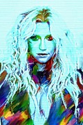 Super Star Mixed Media Prints - Kesha Print by Bogdan Floridana Oana