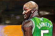Boston Celtics Drawings Posters - Kevin Garnett Poster by Dave Olsen