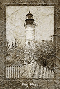 Picket Fence Prints - Key West Lighthouse Print by John Stephens