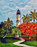 Key West Paintings - Key West Lighthouse by Lois    Rivera