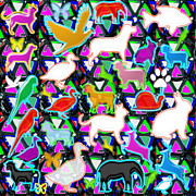 Kids Count The Birds Butterflies N Animals Circle Artistic Navin Joshi Rights Managed Images Graphic Print by Navin Joshi