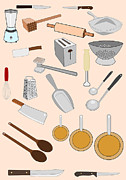 Ladle Digital Art Posters - Kitchen Tools Poster by John Orsbun