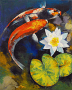Koi Painting Posters - Koi Fish and Water Lily Poster by Michael Creese