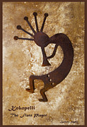 Flute Player Framed Prints - Kokopelli The Flute Player Framed Print by Barbara Snyder