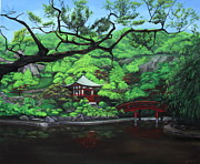 Japanese Tea Garden Paintings - Kyoto by D L Gerring
