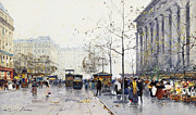 Tram Painting Framed Prints - La Madeleine Paris Framed Print by Eugene Galien-Laloue