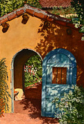 Greeting  Cards. Arizona Paintings - La Posada Hotel Hollyhock Garden Winslow AZ by Mary Dove