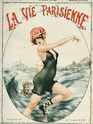 Swimsuits  Swimming Costumes Posters - La Vie Parisienne  1919 1910s France Poster by The Advertising Archives