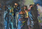 Hijab Paintings - Ladies Dancing in Pakistan by Lucille  Valentino