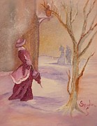 Snowy Evening Painting Posters - Lady in the Snow Poster by Mary Snyder