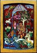 Happy Tapestries - Textiles Posters - Lady Lion and Unicorn Poster by Genevieve Esson