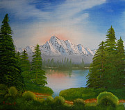 Snowy Trees Paintings - Lake in the Valley by Peter Kallai