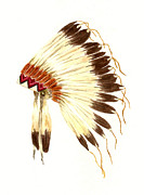 Native American Watercolor Paintings - Lakota Headdress by Michael Vigliotti
