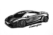 European Cars Drawings Posters - Lamborghini Poster by Teshia Art