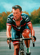 Athlete Painting Metal Prints - Lance Armstrong Metal Print by Paul  Meijering