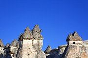 Cappadocia Posters - Landscape of limestone fairy chimneys at Zelve in Cappadocia Turkey Poster by Robert Preston
