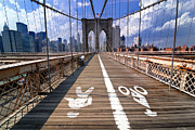 Brooklyn Posters - Lanes for pedestrian and bicycle traffic on the Brooklyn Bridge Poster by Amy Cicconi