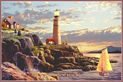 Lighthouse At Sunrise Posters - Last Light  Poster by Ronald Chambers
