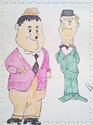 Hardy Drawings - Laurel and Hardy by Michael Barton