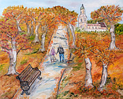 Meadows Drawings - Lautunno della vita by Loredana Messina