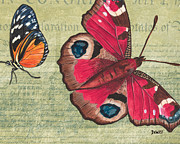 Distressed Mixed Media Posters - Le Papillon 1 Poster by Debbie DeWitt