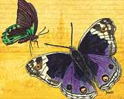Antique Mixed Media Prints - Le Papillon 4 Print by Debbie DeWitt