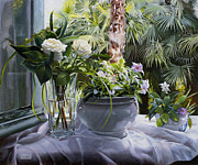 Interior Still Life Paintings - Le Rose E Le Palme by Danka Weitzen