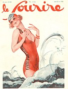 Swimsuits  Swimming Costumes Prints - Le Sourire 1929 1920s France Holidays Print by The Advertising Archives