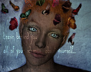 Meanings Digital Art Posters - Leave behind you all of your ideas about yourself Poster by Barbara Orenya
