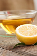 Wooden Bowl Posters - Lemon fruit tea Poster by Mythja  Photography