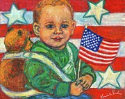 Child With Teddy Bear Prints - Liberty Print by Kendall Kessler
