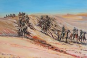 Wwi Painting Originals - Light Horse on Patrol by Leonie Bell