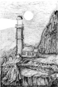 Edge Drawings Posters - Lighthouse Poster by Jimmy Taylor