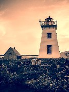 Lobster Traps Photos - Lighthouse Prince Edward Island by Edward Fielding