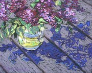 Pottery Pitcher Metal Prints - Lilacs Metal Print by Gloria  Nilsson
