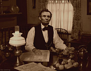 Abraham Lincoln Photos Posters - Lincoln at Breakfast Poster by Ray Downing