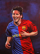 Uefa Champions League Framed Prints - Lionel Messi  Framed Print by Paul  Meijering