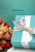 Shopping Posters - Little Blue Gift Box Poster by Amy Cicconi