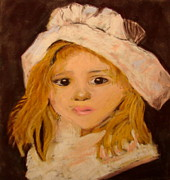 Framed Pastels Originals - Little Girl by Joseph Hawkins