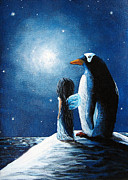 Snowy Night Painting Metal Prints - Little Penguin Fairy by Shawna Erback Metal Print by Shawna Erback